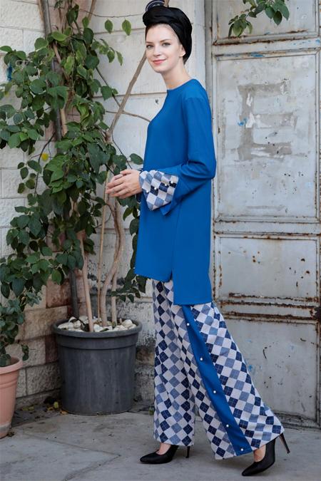 Selma Sarı Design Mavi Triko Detaylı İkili Takım