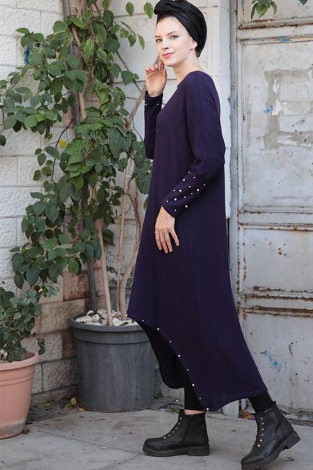 Selma Sarı Design Mor İncili Salaş Uzun Tunik