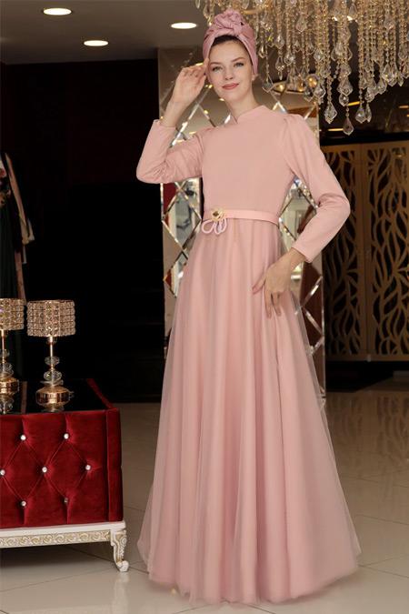 Selma Sarı Design Pudra Tül Detaylı Abiye Elbise