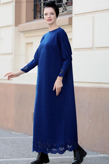 Selma Sarı Design Saks Lazer Detaylı Elbise Tunik