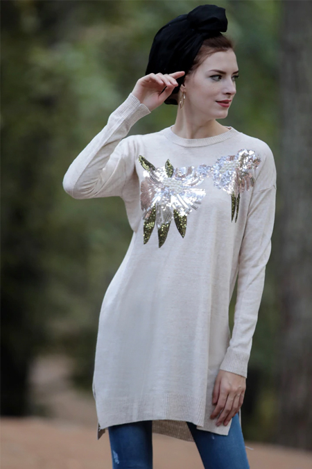 Selma Sarı Design Vizon Çiçek Payet İşlemeli Triko Tunik