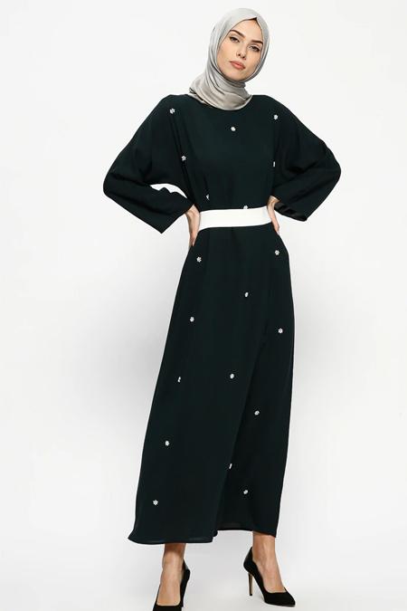 Tuncay Koyu Yeşil Kuşaklı Elbise
