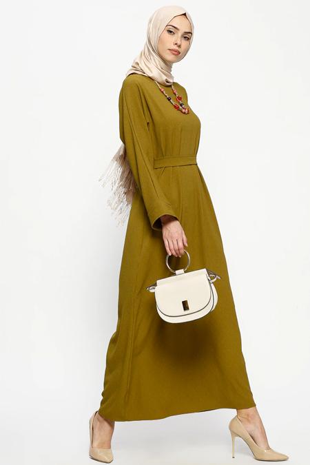 Tuncay Yeşil Kuşaklı Elbise