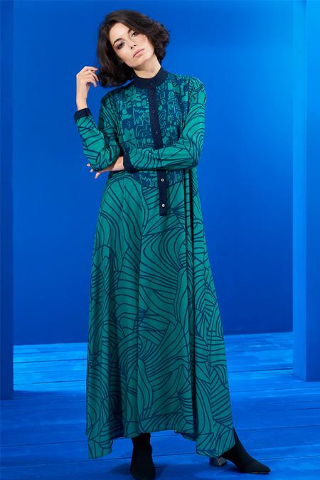 Mevra Lacivert Yeşil Biyeli İki Desen Elbise