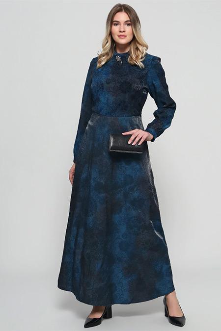 Alia İndigo Flog Baskılı Broş Detaylı Elbise