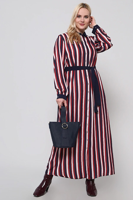 Alia Bordo Boydan Düğmeli Çizgili Elbise