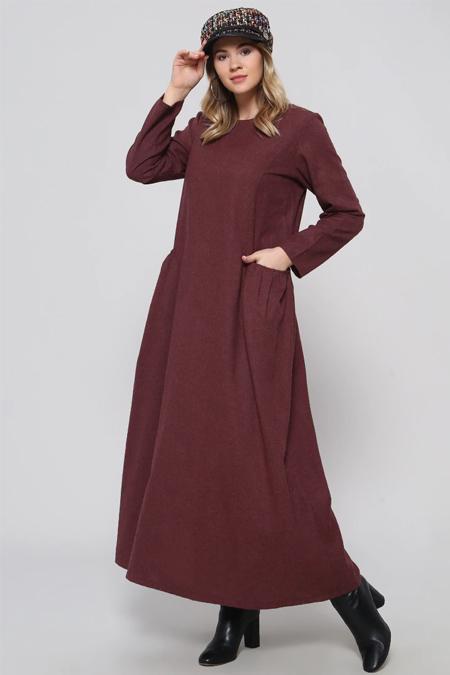 Alia Bordo Cep Detaylı Elbise