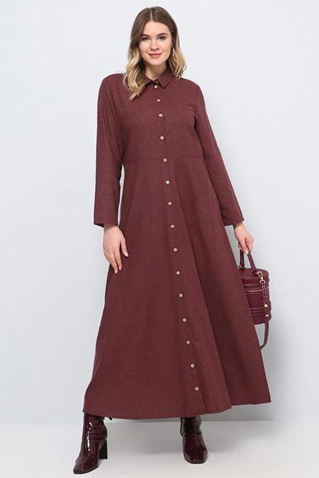 Alia Bordo Doğal Kumaşlı Boydan Düğmeli Elbise