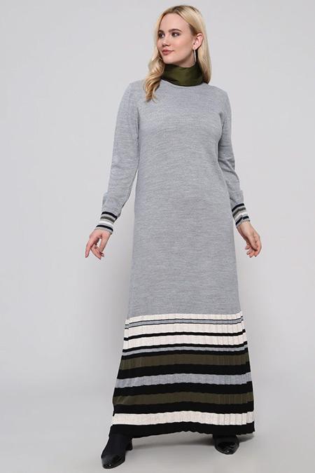 Alia Gri Çizgili Triko Elbise