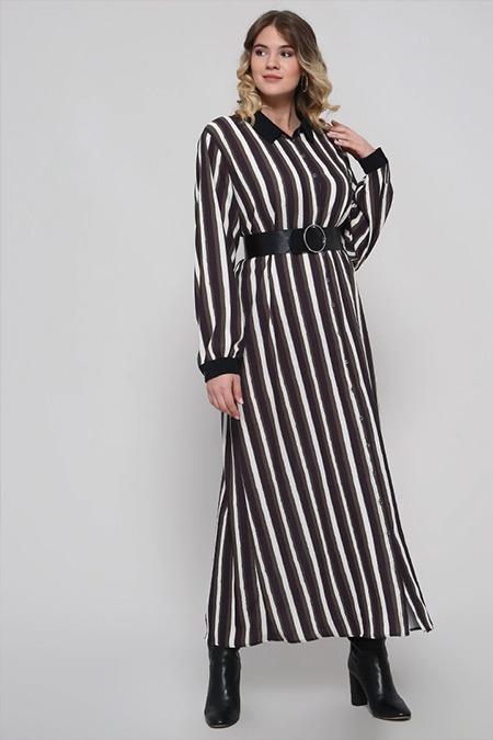 Alia Haki Boydan Düğmeli Çizgili Elbise