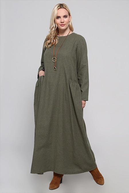 Alia Haki Cep Detaylı Elbise