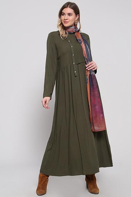 Alia Haki Doğal Kumaşlı Düğme Detaylı Elbise