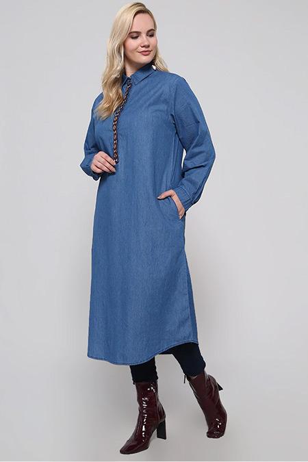 Alia Koyu Mavi Doğal Kumaşlı Kot Tunik