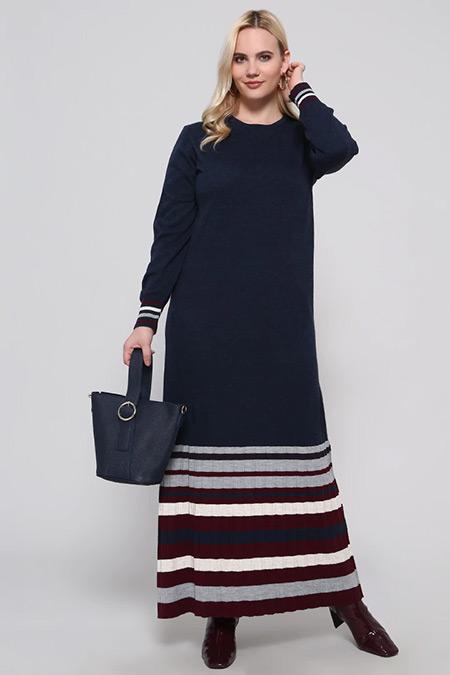 Alia Lacivert Çizgili Triko Elbise