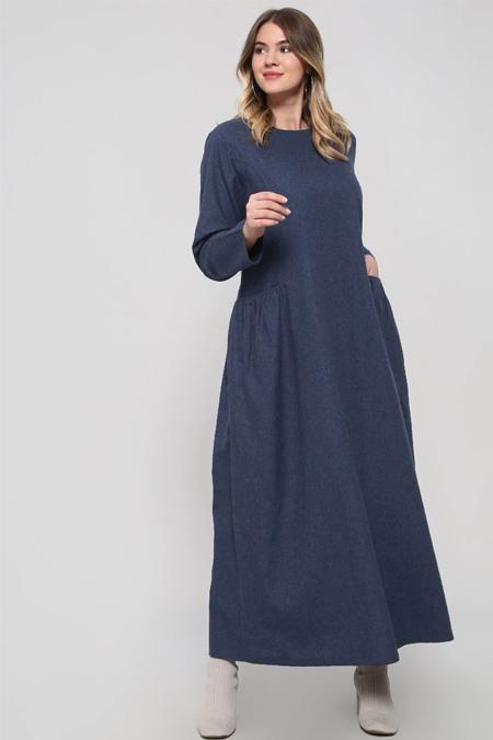 Alia Lacivert Cep Detaylı Elbise