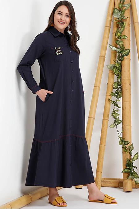 Alia Lacivert Doğal Kumaştan Boydan Düğmeli Elbise