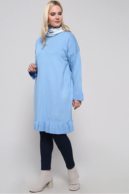 Alia Mavi Volan Detaylı Triko Tunik