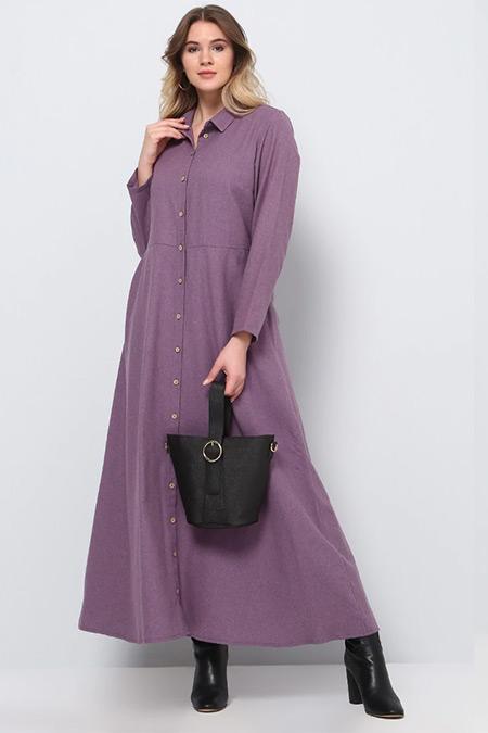 Alia Mor Doğal Kumaşlı Boydan Düğmeli Elbise
