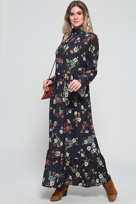 Alia Siyah Çiçek Desenli Elbise