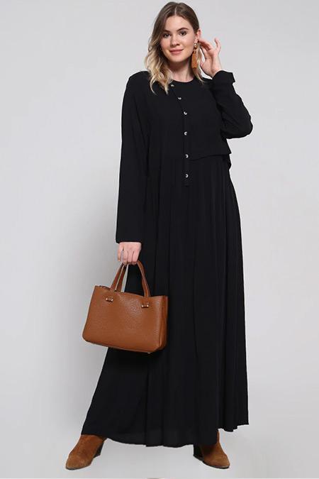 Alia Siyah Doğal Kumaşlı Düğme Detaylı Elbise