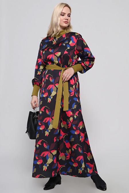 Alia Siyah Fuşya Balıkçı Yaka Desenli Elbise