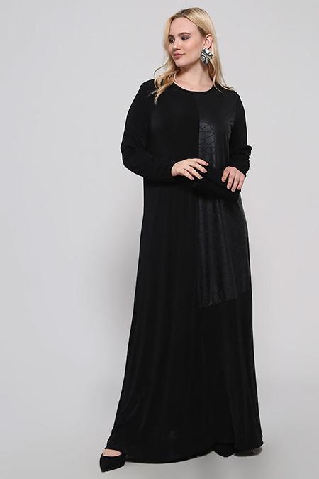 Alia Siyah Garnili Salaş Elbise