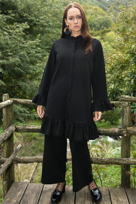 Ayşen Özen Siyah Fırfırlı Tunik & Pantolon İkili Takım