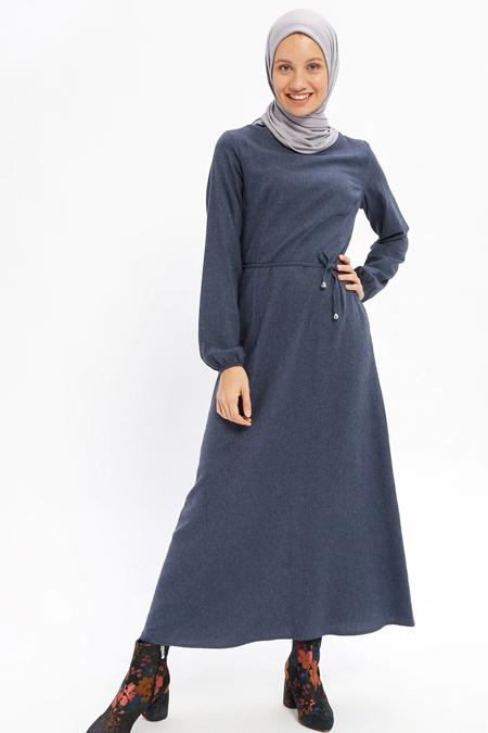 0360aa7432964 Beha Tesettür İndigo Düz Renk Elbise Online Satış, İndirimli Satın Al