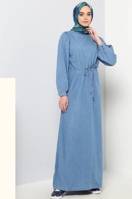 Benin Mavi Doğal Kumaşlı Kot Elbise