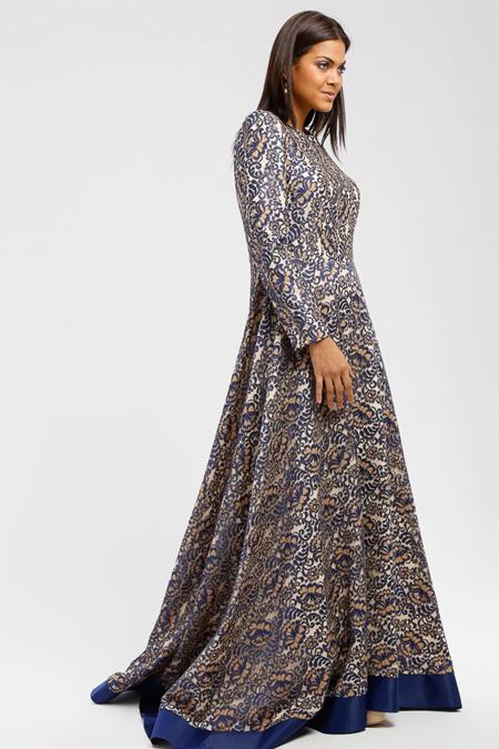 DRESSLOVE Lacivert Dantel Abiye Elbise