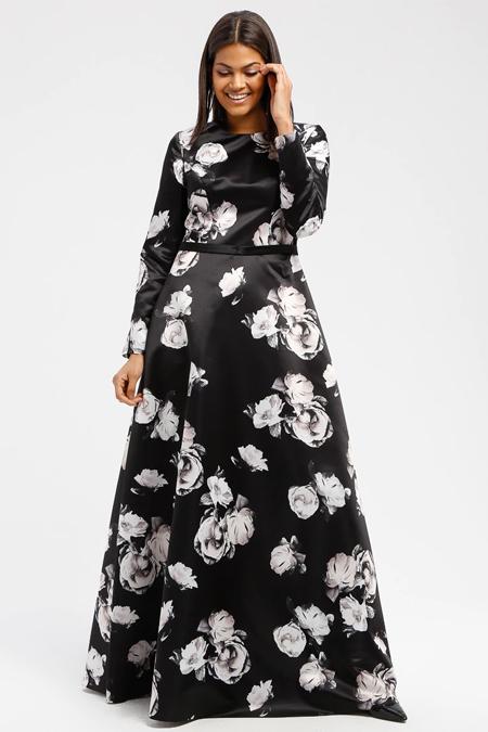 DRESSLOVE Siyah Çiçek Desenli Abiye Elbise
