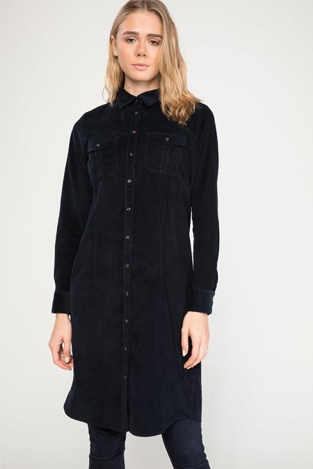 DeFacto Lacivert Çift Cepli Basic Uzun Gömlek Tunik