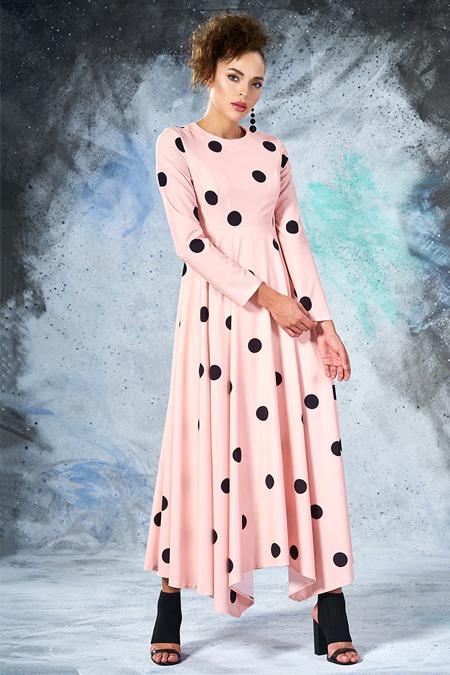 Pudra Puantiyeli Elbise