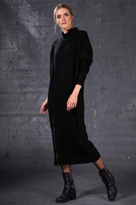 Siyah Fermuar Detaylı Triko Elbise