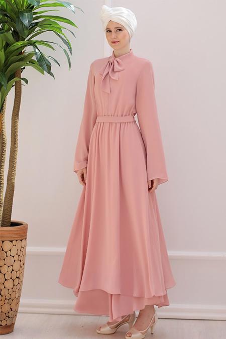 Emsale Pudra Yaka Detaylı Elbise