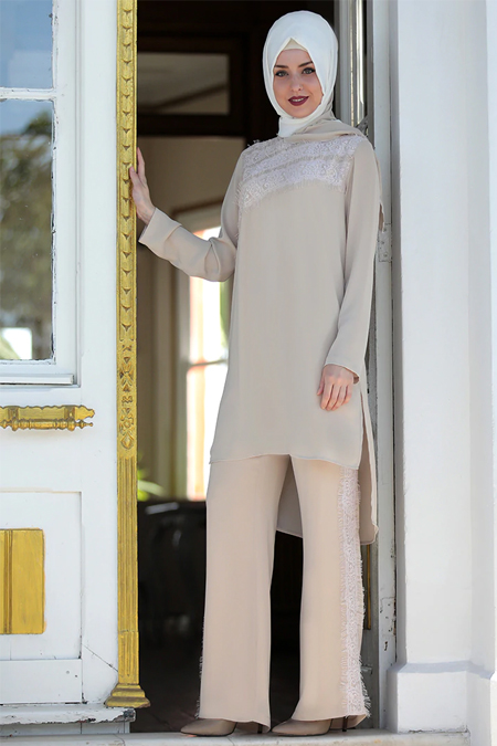 Emsale Vizon Dantelli Bluz & Pantolon İkili Takım