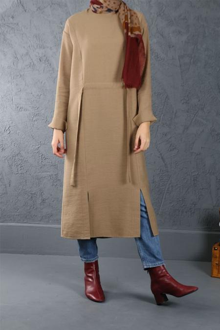 Esra Keskin Demir Camel Bel Detaylı Tunik