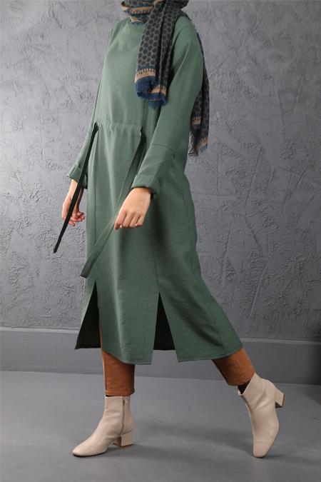 Esra Keskin Demir Yeşil Bel Detaylı Tunik