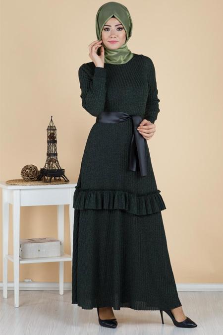 Eteği Fırfırlı Deri Kemer Detaylı Tesettür Elbise