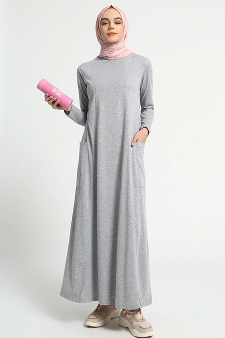 Everyday Basic Gri Doğal Kumaşlı Cep Detaylı Elbise