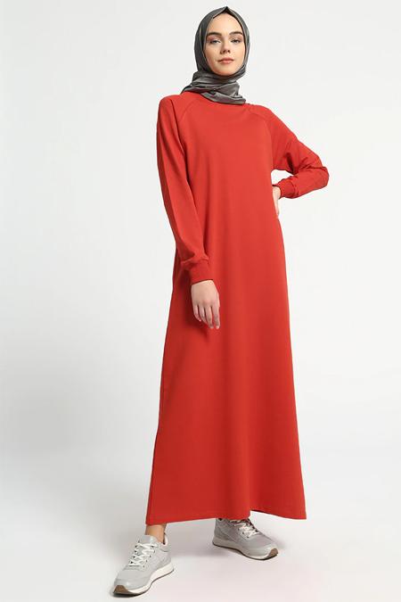 Everyday Basic Kırmızı Düz Renk Spor Elbise