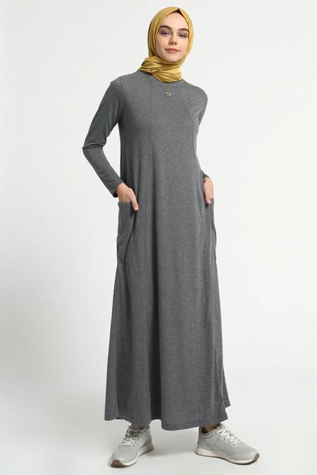 Everyday Basic Koyu Gri Doğal Kumaşlı Cep Detaylı Elbise
