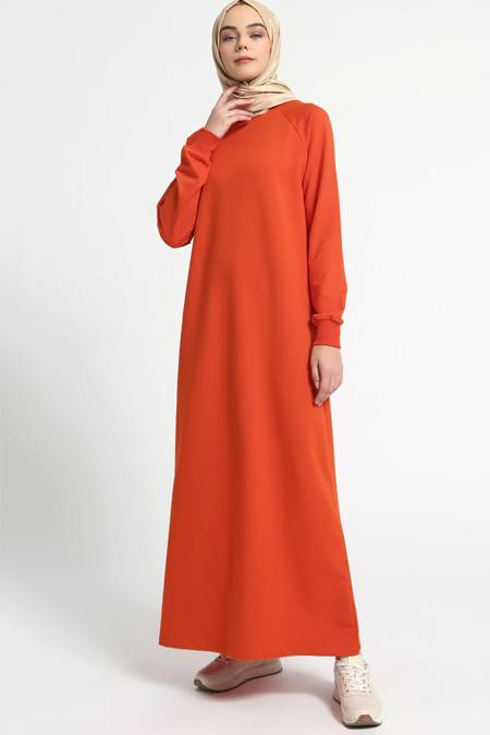 Everyday Basic Koyu Turuncu Düz Renk Spor Elbise