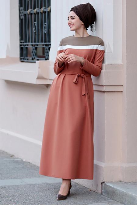 Gamze Özkul Kiremit Boon Elbise