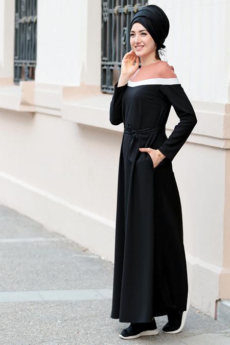 Gamze Özkul Siyah Boon Elbise