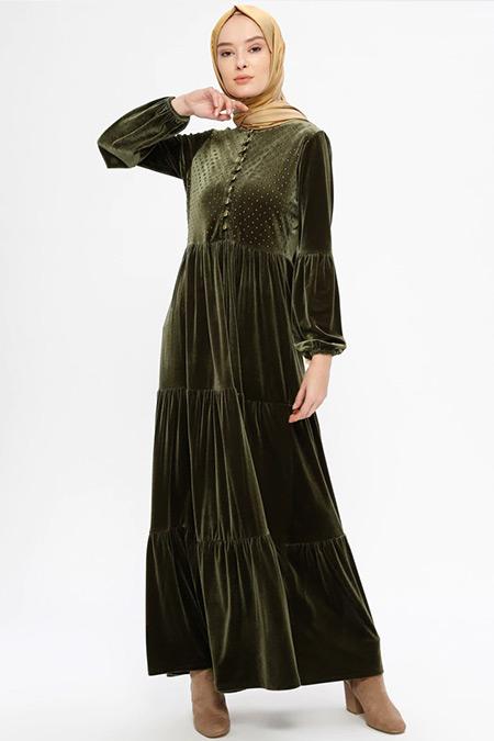 Ginezza Haki Drop Baskılı Kadife Elbise