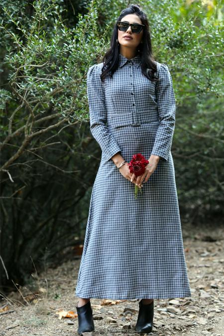 Gizem Kış Gri Kemerli Kareli Elbise