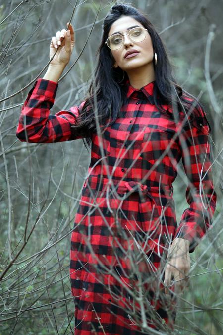 Gizem Kış Kırmızı Cepli Ekose Elbise