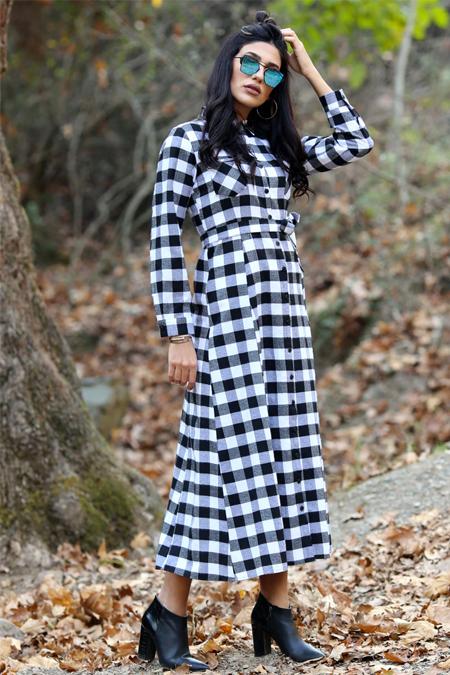 Gizem Kış Siyah Cepli Ekose Elbise