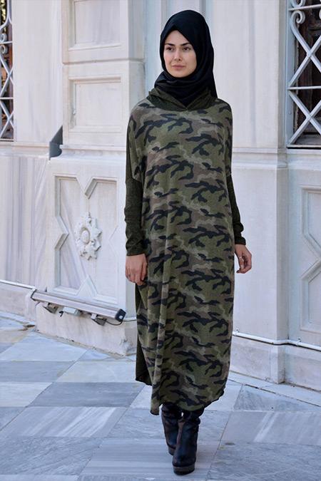 Henna Elısa Haki Kamuflaj Uzun Tunik